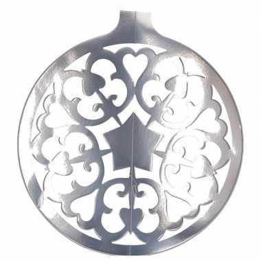Kerstballen hangdecoratie zilver 49 cm kerstversiering