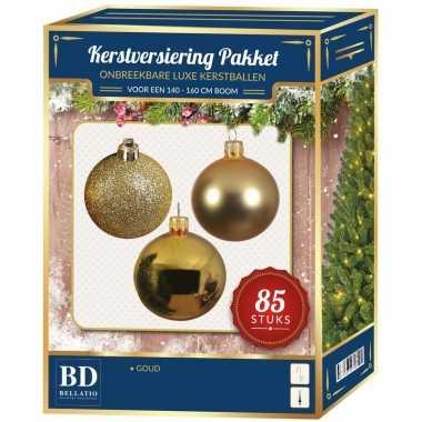 Kerstballen met ster piek set goud voor 180 cm kerstboom kerstversiering