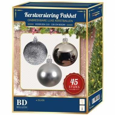 Kerstballen met ster piek set zilver voor 120 cm kerstboom kerstversiering