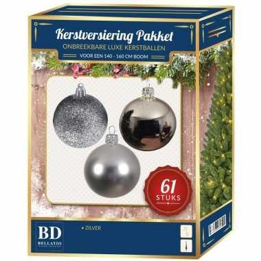 Kerstballen met ster piek set zilver voor 150 cm kerstboom kerstversiering
