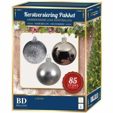 Kerstballen met ster piek set zilver voor 180 cm kerstboom kerstversiering