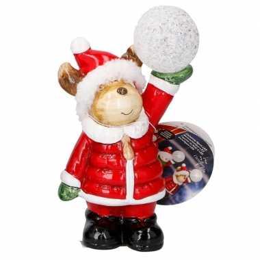 Kerstbeer met led kerst decoratie 17 cm kerstversiering