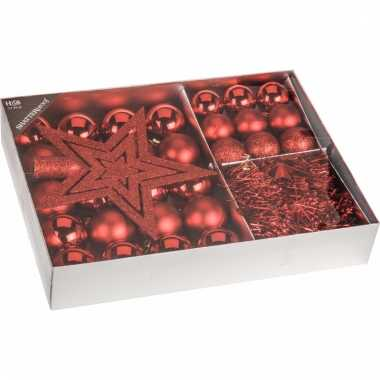 Kerstboom decoratie set 33 delig classic red kerstversiering