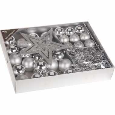 Kerstboom decoratie set 33 delig classic silver kerstversiering