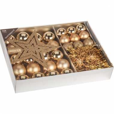 Kerstboom decoratie set 33 delig goud kerstversiering