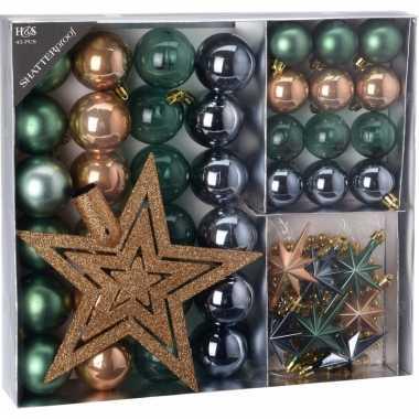 Kerstboom decoratie set 45 delig brons/groen/grijs kerstversiering