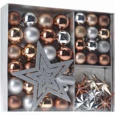Kerstboom decoratie set 45 delig brons zilver goud kerstversiering