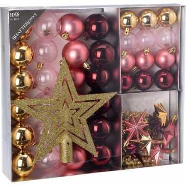 Kerstboom decoratie set 45 delig roze kerstversiering