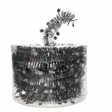 Kerstboom folie slinger met ster antraciet 700 cm kerstversiering