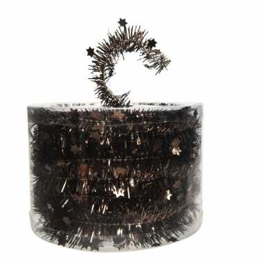 Kerstboom folie slinger met ster donker bruin 700 cm kerstversiering