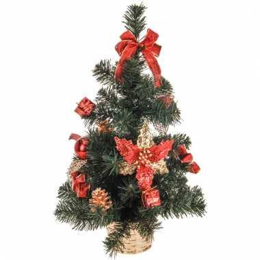 Kerstboom met versiering rood/goud 50 cm kerstversiering