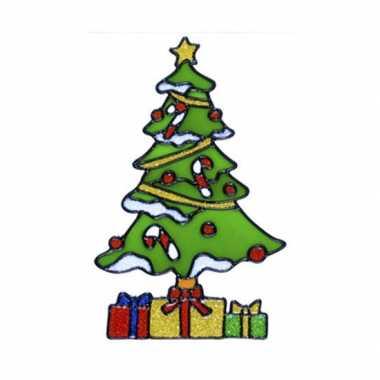 Kerstboom raam sticker 18 cm kerstversiering