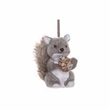 Kerstboom versiering eekhoorn grijs pluche 12 cm kerstversiering