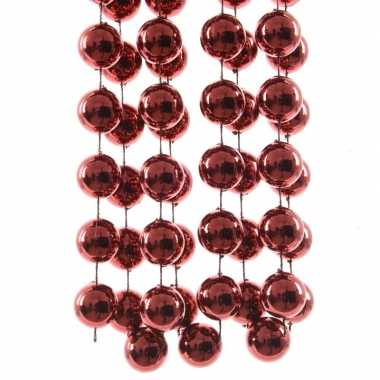 Kerstboomversiering kralenslinger donker rood 270 cm kerstversiering