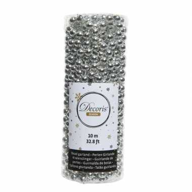 Kerstboomversiering kralenslinger zilver 1000cm kerstversiering