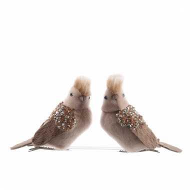 Kerstdecoratie bruin vogeltje op clip 10 cm kerstversiering 10092535