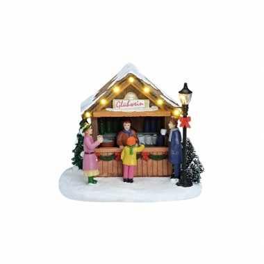 Kerstdorp kerst versiering marktkraam met gluhwein kerstversiering