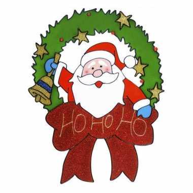Kerstman raam sticker 30 cm kerstversiering