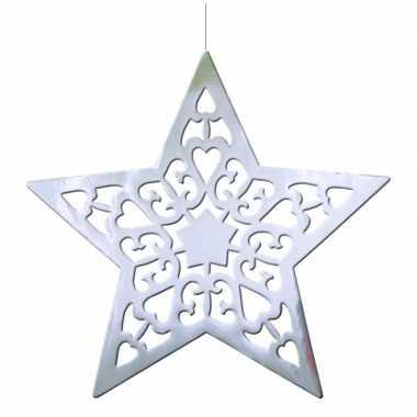 Kerstster decoratie zilver 50 cm kerstversiering