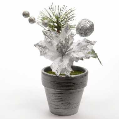 Kerststerren zilver fluweel in potje 16 cm kerstversiering