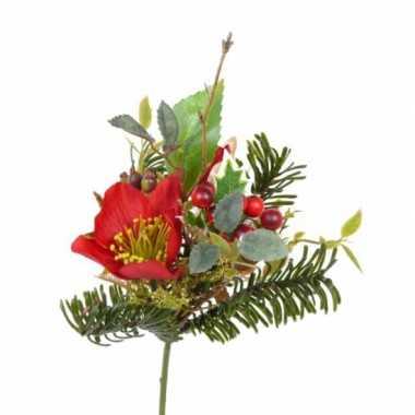 Kerststukje versiering rode helleborus 17 cm kerstversiering