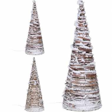 Kerstverlichting kegel van rotan 40 cm kerstversiering
