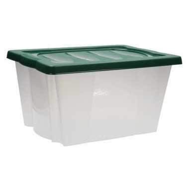 Kerstversiering opbergen box met deksel groen