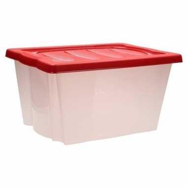 Kerstversiering opbergen box met deksel rood