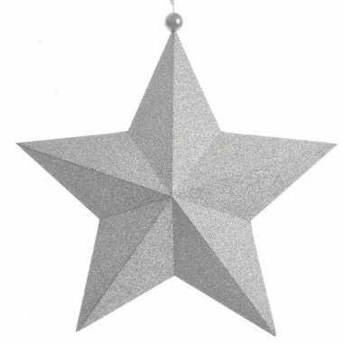 Kerstversiering zilveren papieren ster 34 cm