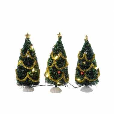 Kleine kerstboom met led lampjes en versiering 15 cm kerstversiering