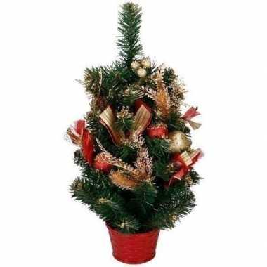 Kunst kerstboom met rood / goud versiering kerst decoratie 50 cm kers