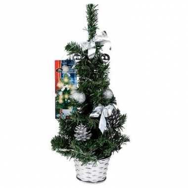Kunst kerstboom zilver met LED kerstversiering