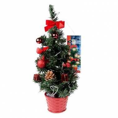 Kunst kerstboompje rood met licht kerstversiering