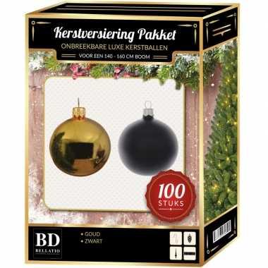 Luxe complete versiering set goud met zwart voor 150 cm kerstboom kerstversiering