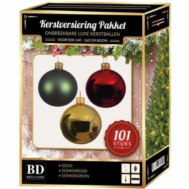 Luxe complete versiering set goud-mintgroen-donkerrood voor 150 cm kerstboom kerstversiering