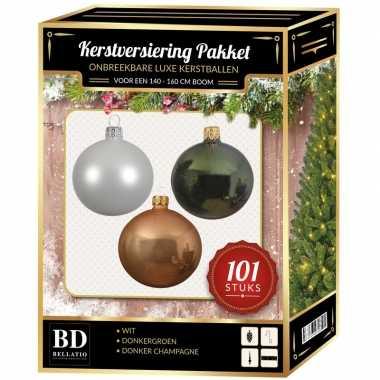 Luxe complete versiering set wit-donker champagne-donkergroen voor 150 cm kerstboom kerstversiering