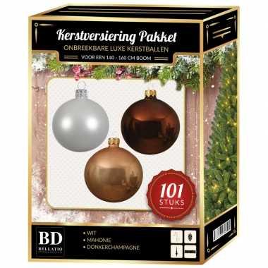 Luxe complete versiering set wit-donker champagne-mahonie bruin voor 150 cm kerstboom kerstversiering