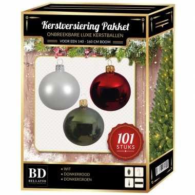 Luxe complete versiering set wit-donkergroen-donkerrood voor 150 cm kerstboom kerstversiering