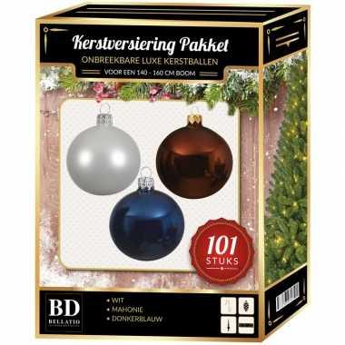 Luxe complete versiering set wit-mahonie bruin-donkerblauw voor 150 cm kerstboom kerstversiering