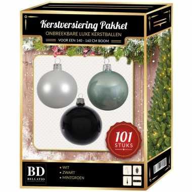 Luxe complete versiering set wit-mintgroen-zwart voor 150 cm kerstboom kerstversiering