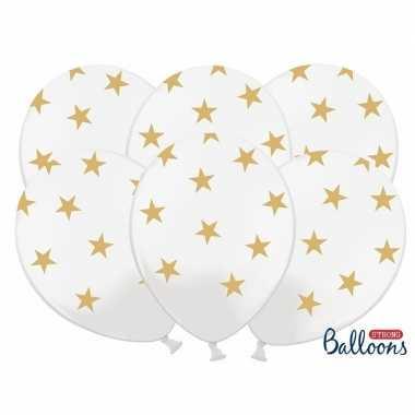 Nieuwjaar ballonnen wit met gouden sterren kerstversiering