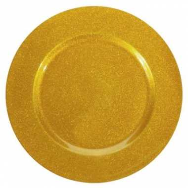 Onderzetbord glitter goud 33 cm kerstversiering