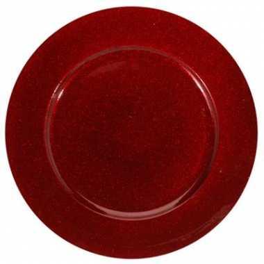 Onderzetbord glitter rood 33 cm kerstversiering