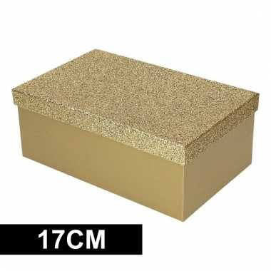 Opbergdoos goud glitters 7 cm kerstversiering