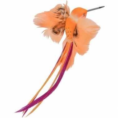 Oranje kolibries vogels versiering 15 cm met verenstaart op clip kerstversiering
