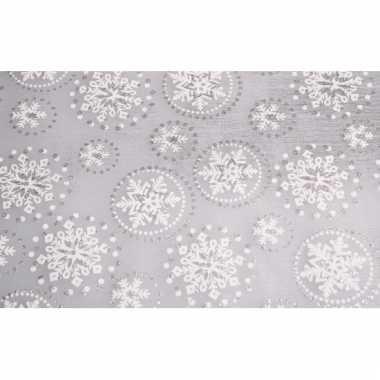 Organza zilver tafelkleed sneeuwvlok glitters 30 x 270 cm kerstversie