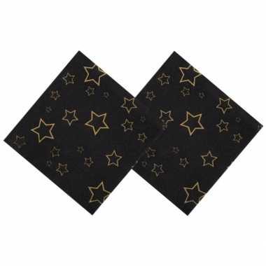 Oud en nieuw servetten met gouden sterren 25 x 25 cm kerstversiering