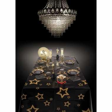 Oud en nieuw tafelkleed met gouden sterren 130 x 180 cm kerstversieri