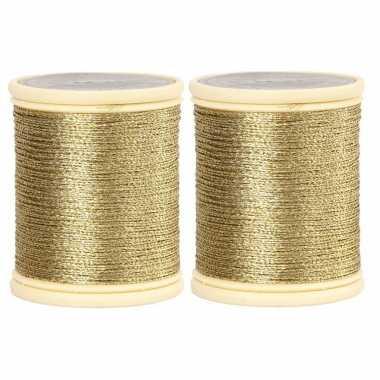 Pakket van 2x stuks rolletjes goud koord op rol van 40 meter kerstversiering