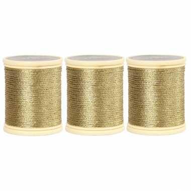 Pakket van 3x stuks rolletjes goud koord op rol van 40 meter kerstversiering